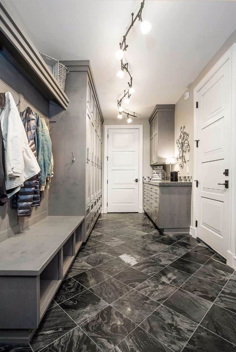 Mudroom with tile floor 85 Fantastic Mudroom