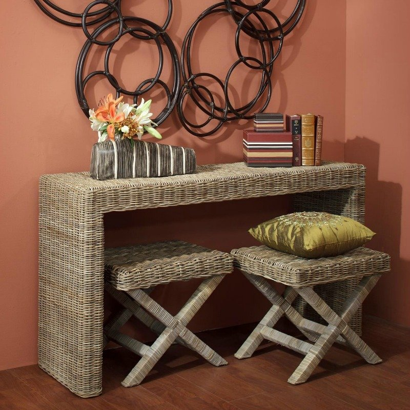 Foyer table with chairs that store underneath
