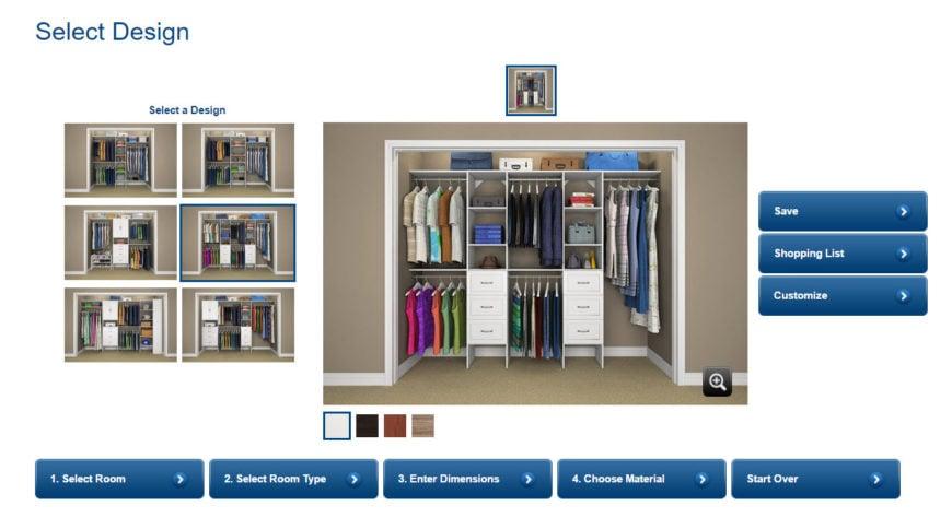 Choose RoomTypeDimensionsMaterialsSuggested DesignsCustomizeShopping List