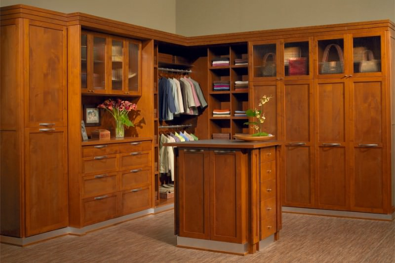 Bedroom closet featuring a walnut finished cabinetry matching with the center island set on a carpet flooring.