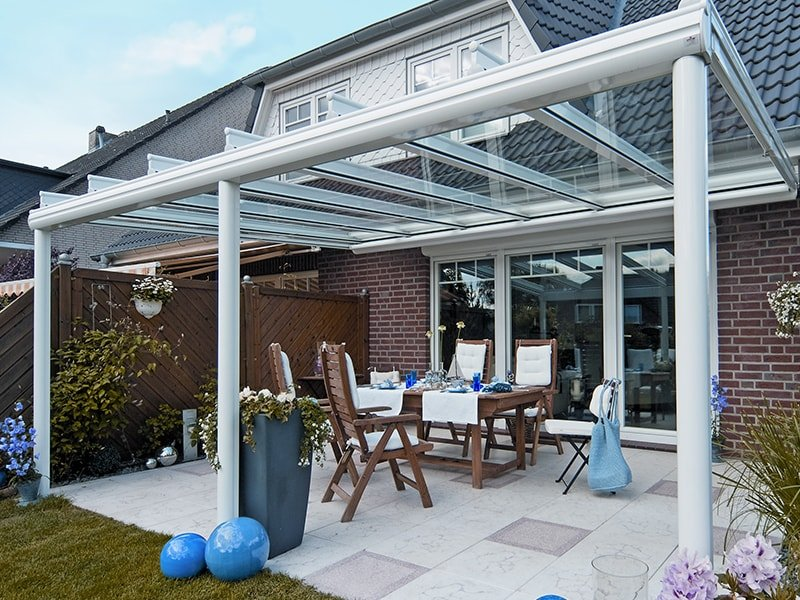 Very Cool Glass Roofed Awning Like Structure For Patio.