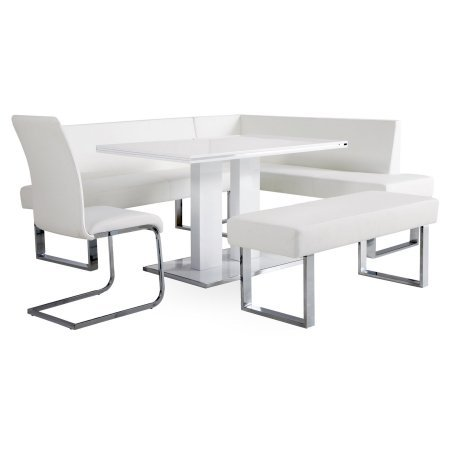 Armen Living Amanda 5 Piece Corner Nook Dining Set with Benches - White