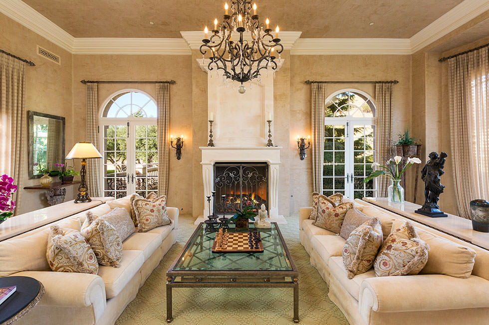 Britney Spears' fancy living room with chandelier.