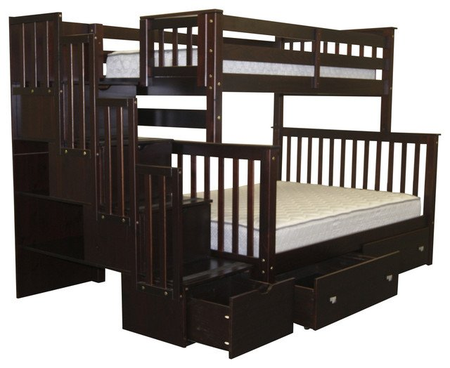 Bunk Beds Twin over Full Stairway Cappuccino + 2 Extra Drawers