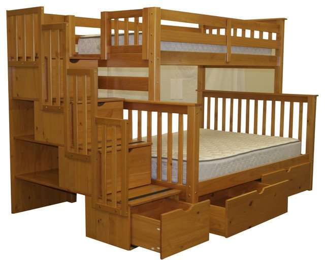 Twin Over Full Bunk Beds With 6 Drawers and Stairway, Honey