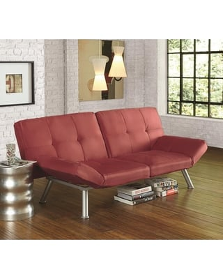 Red Small Contemporary Futon