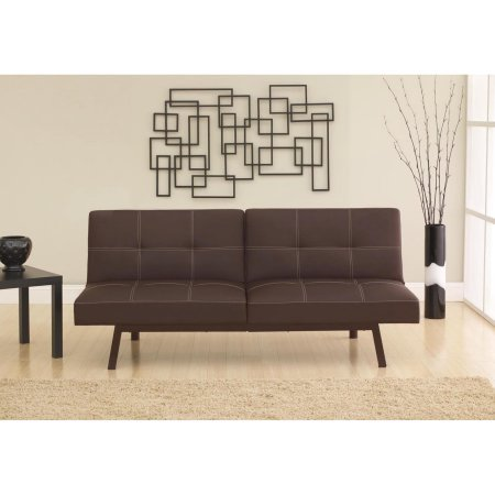 Midcentury Delaney Split Back Brown Futon (Armless)