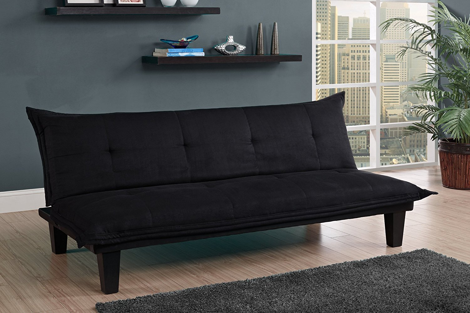 Black Soft Futon with Wood Legs