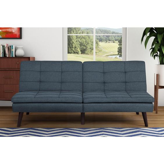 Blue Linen Pillowtop Futon