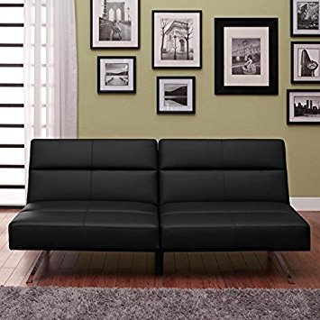 Narrow Black Convertible Futon