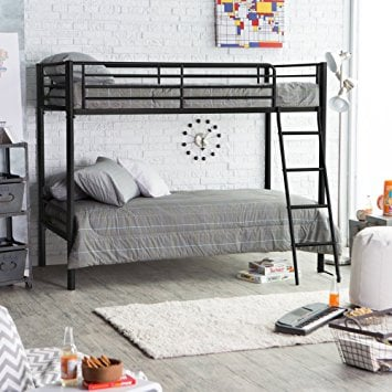 Simple Black Metal Twin over Twin Bunk Bed