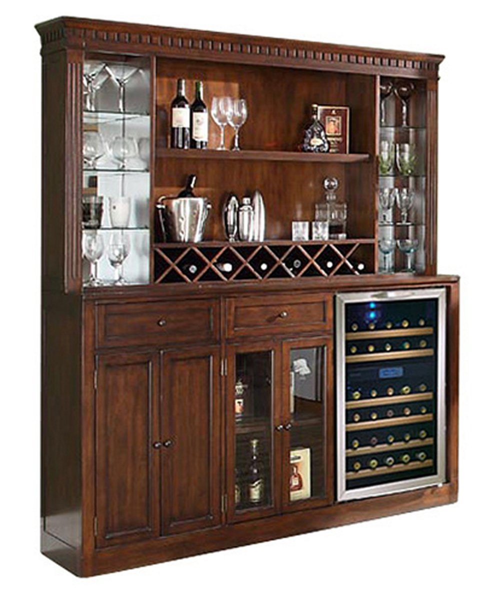 ECI Manchester Home Bar with Optional Hutch - Distressed Walnut