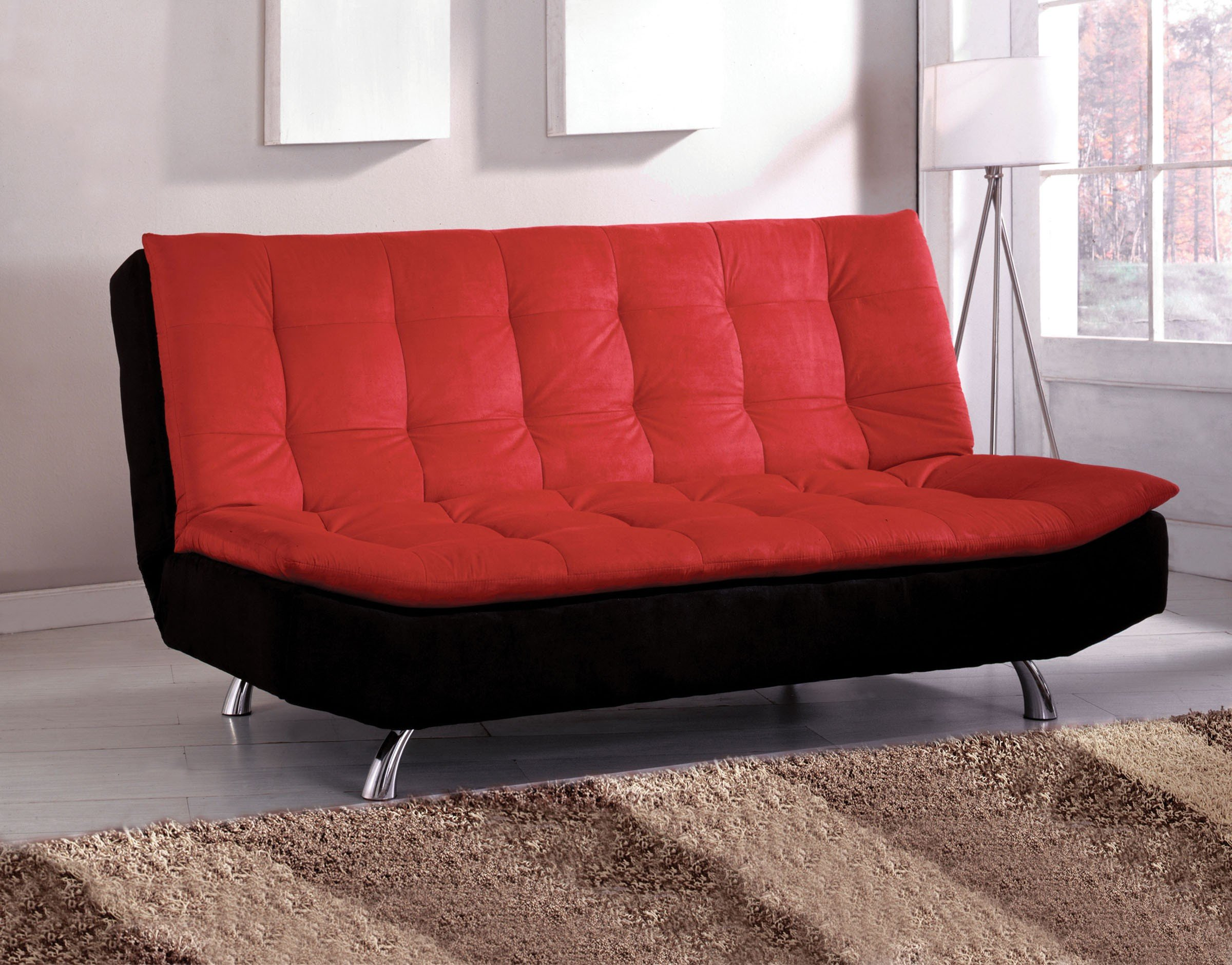 Contemporary Red and Black Microfiber Futon