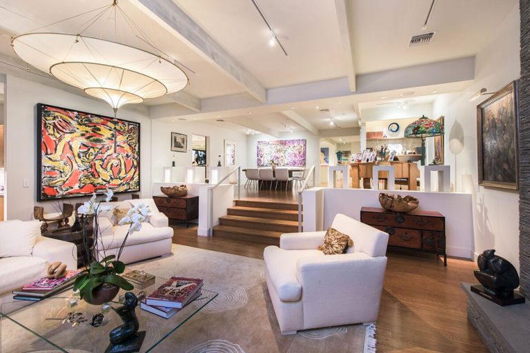 Living room in Beverly Hills home once owned by Jane Fonda