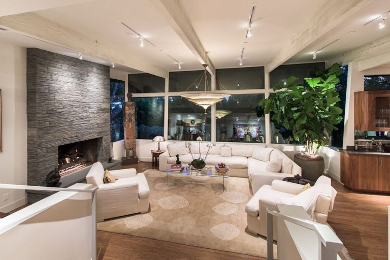 Beautiful sunken living room in home once owned by Jane Fonda