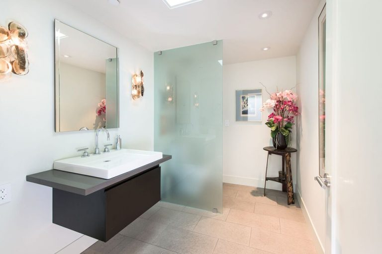 Contemporary bathroom in home formerly owned by Jane Fonda.
