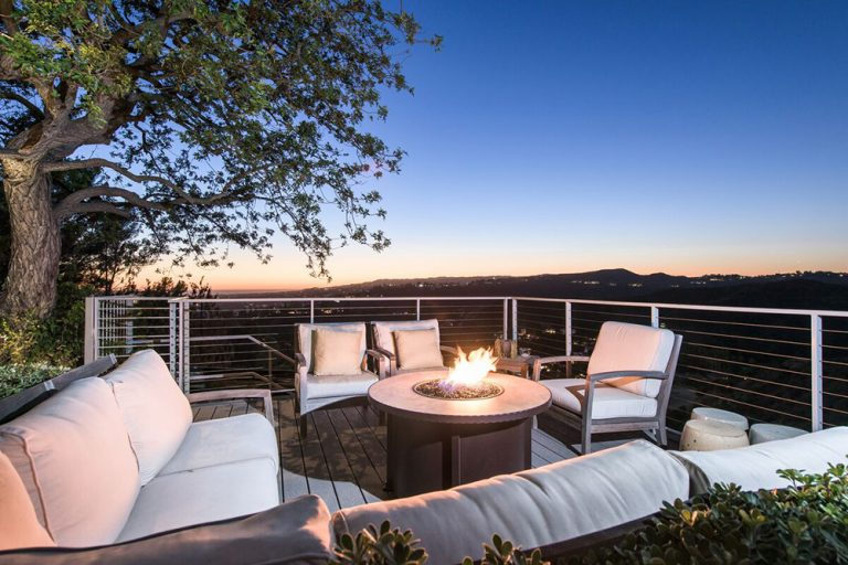 Patio with firepit and amazing view at Jane Fonda's former home.