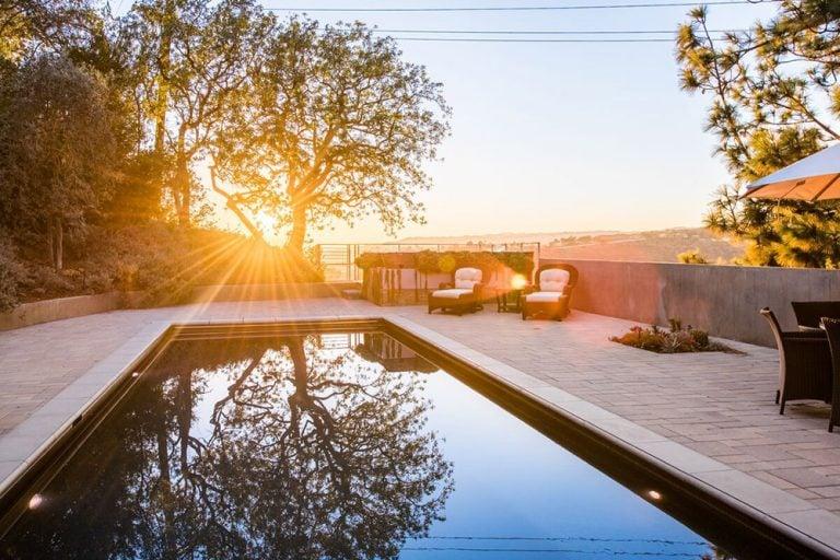 Jane Fonda's former swimming pool in backyard of Beverly Hills home.