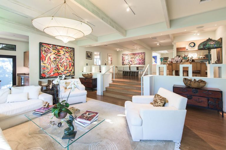 View of living room and dining room of Jane Fonda's former house.