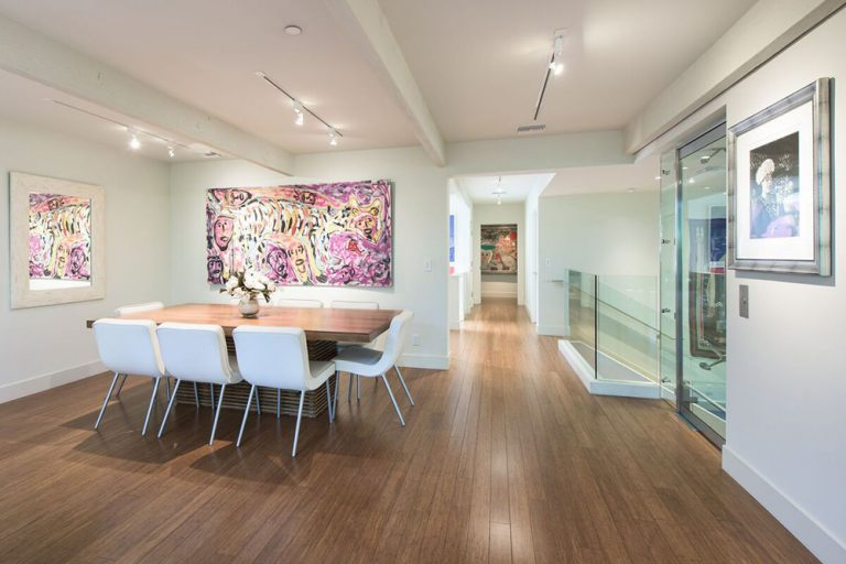 Contemporary dining room in Beverly Hills mansion once owned by Jane Fonda