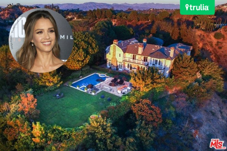 Aerial view of Jessica Alba's Beverly Hills Home