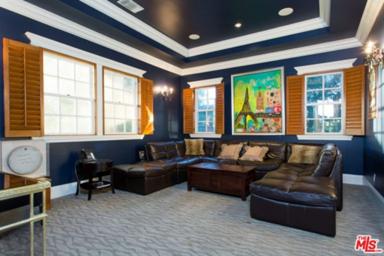 Blue home theater featuring brown leather sofa set on top of the stylish carpet flooring. The tray ceiling adds style to the room as well.