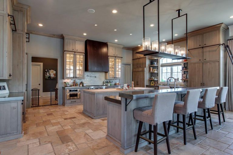 Kelly Clarkson's massive updated kitchen with two islands.