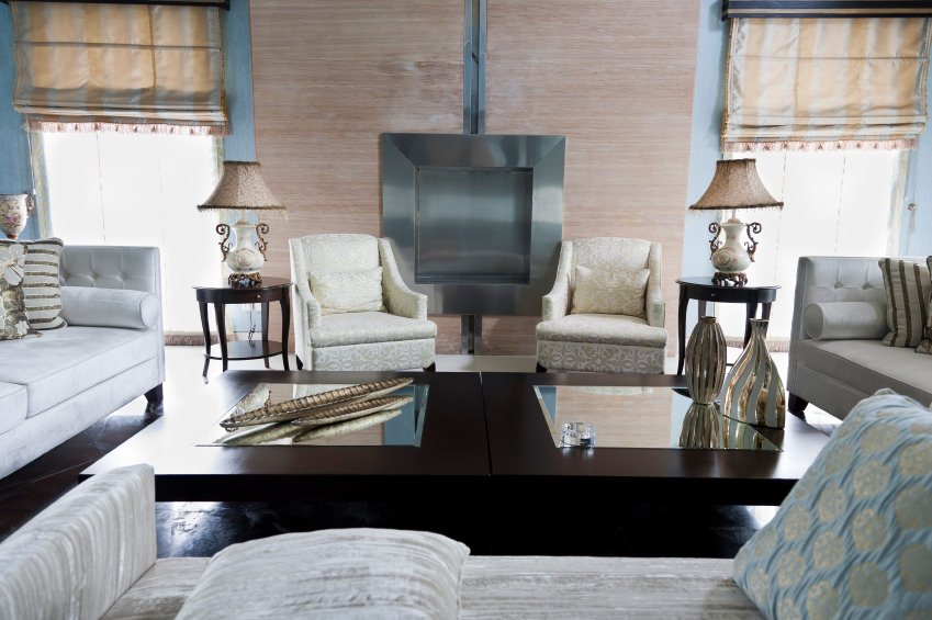 Living room of a modern apartment with fusion of oriental furniture.
