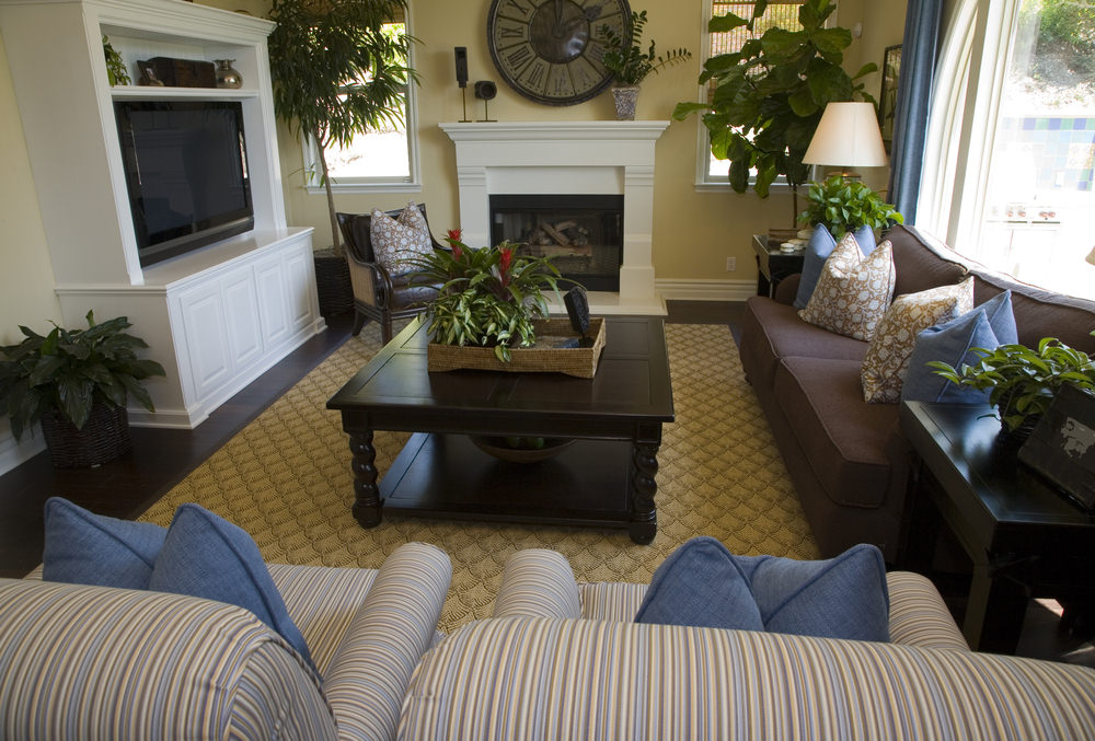 Small living room set featuring a nice and cozy set of seats and a classy rug covering the hardwood flooring.