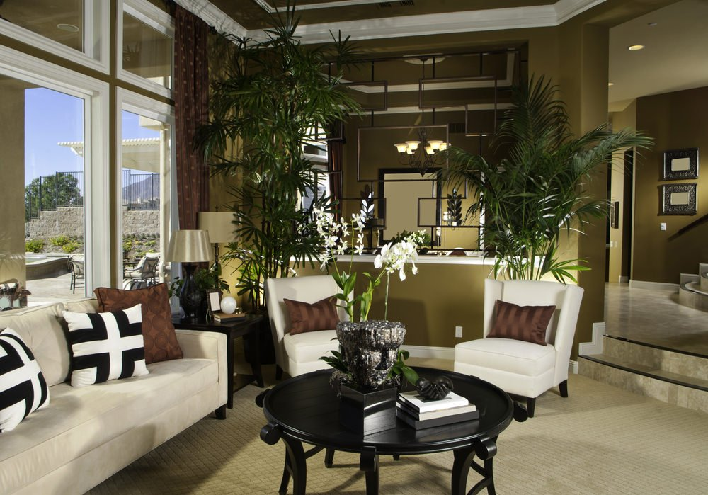 Fresh living room features a white velvet sofa with wingback chairs and black coffee table. It has an olive green tray ceiling and carpet flooring.
