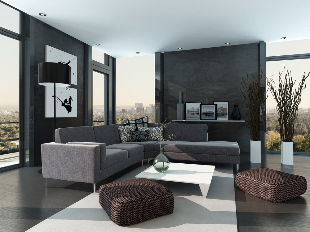 Modern black living room interior.