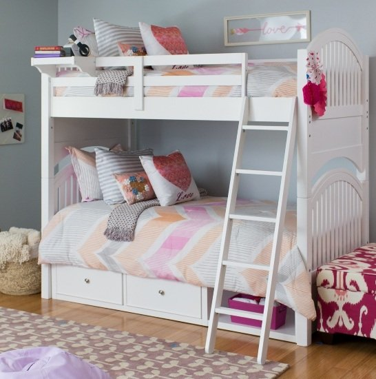 Twin over Twin Small Bunk Bed (White)