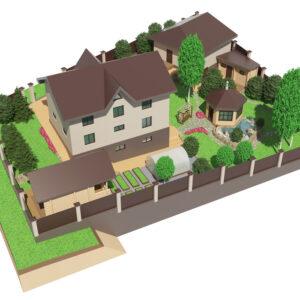 Illustration of landscape and garden design surrounding a home.