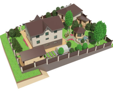 Illustration of landscape and garden design surrounding a home.