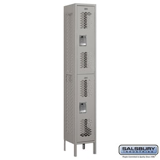 Salsbury Vented Metal Locker - Double Tier - 1 Wide - 6 Feet High - 12 Inches Deep