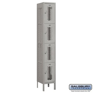 Salsbury Vented Metal Locker - Four Tier - 1 Wide - 6 Feet High - 12 Inches Deep