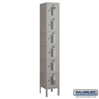 Salsbury Vented Metal Locker - Six Tier Box Style - 1 Wide - 6 Feet High - 12 Inches Deep - Gray - Assembled