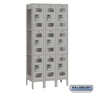 Salsbury Vented Metal Locker - Triple Tier - 3 Wide - 6 Feet High - 12 Inches Deep