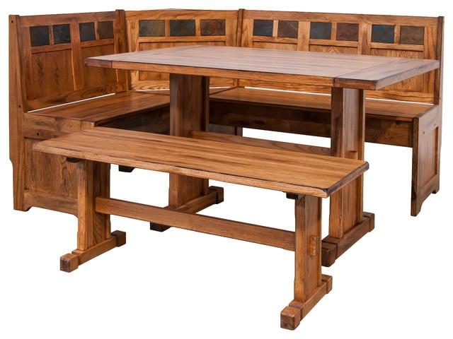 Sedona Breakfast Nook Set With Side Bench, Rustic Oak