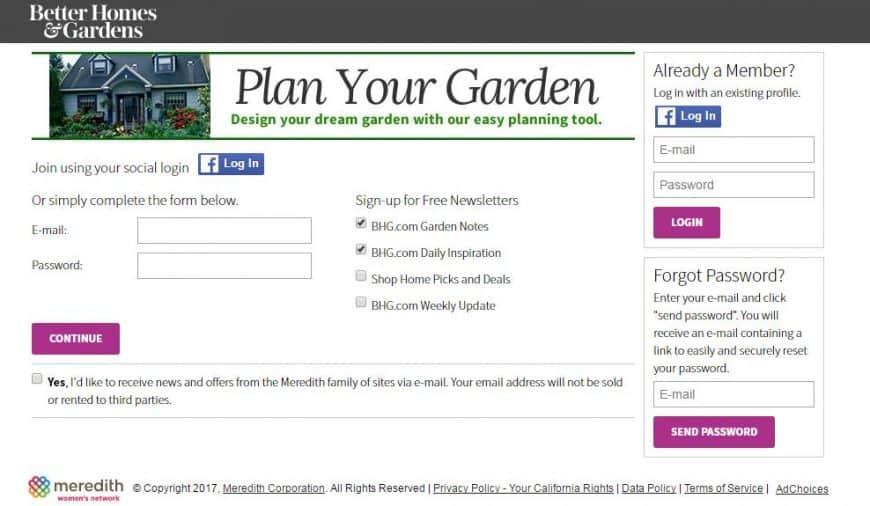 Better Homes & Gardens Garden Design Tool log-in interface