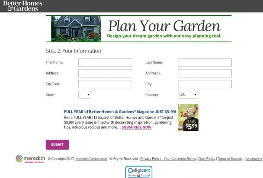 Better Homes & Gardens Garden Design Tool sign-up interface