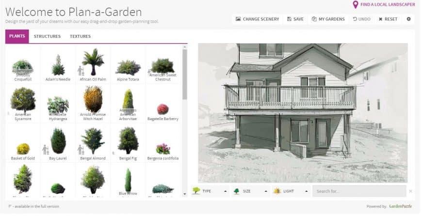 Better Homes & Gardens Garden Design Tool plants feature