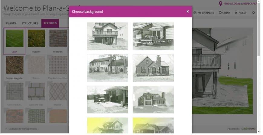 Better Homes & Gardens Garden Design Tool backgrounds feature