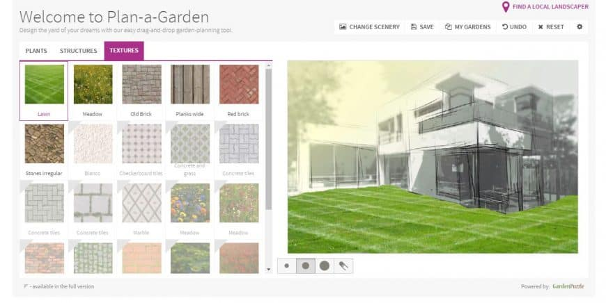 Better Homes & Gardens Garden Design Tool textures feature
