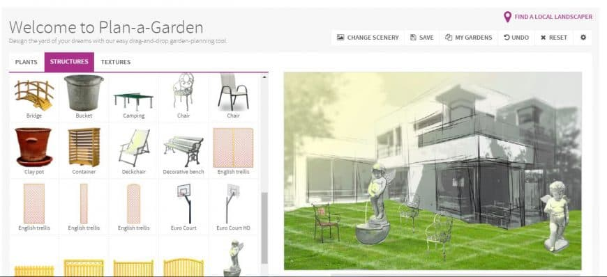 Better Homes & Gardens Garden Design Tool structures feature