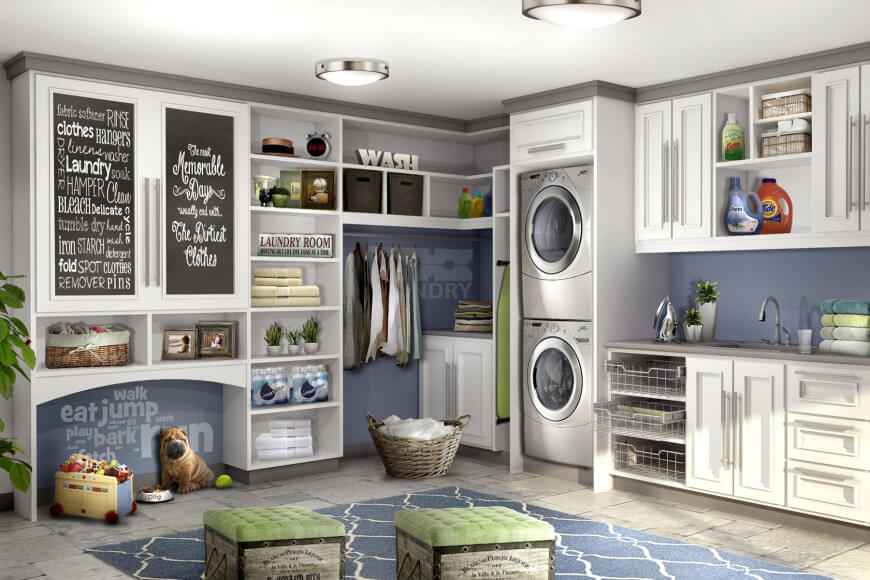 Laundry room designed with wall art pieces.