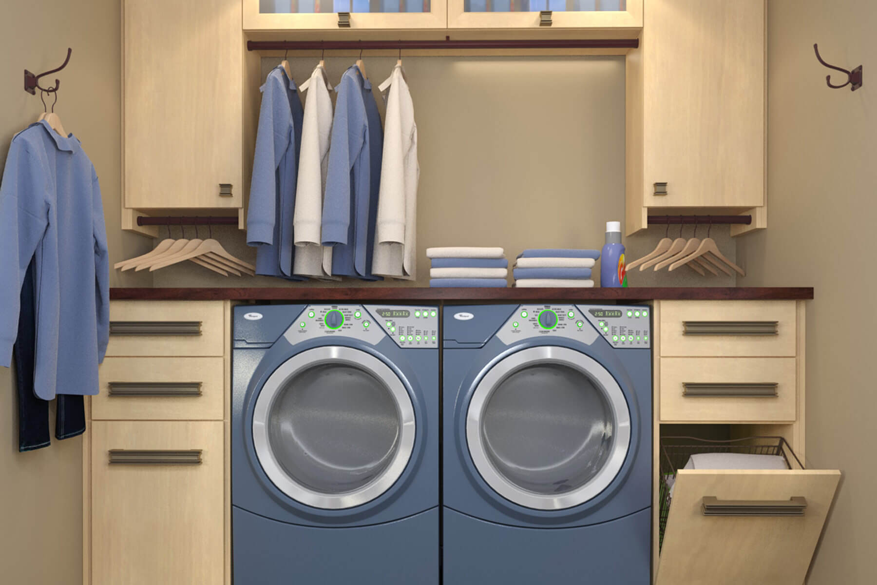 The blueish gray washer and dryer combo look very stylish in this laundry room.