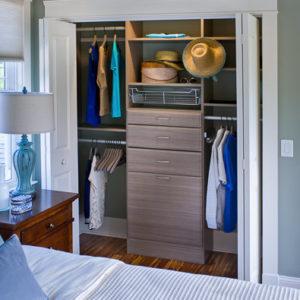 Closet with open folding doors