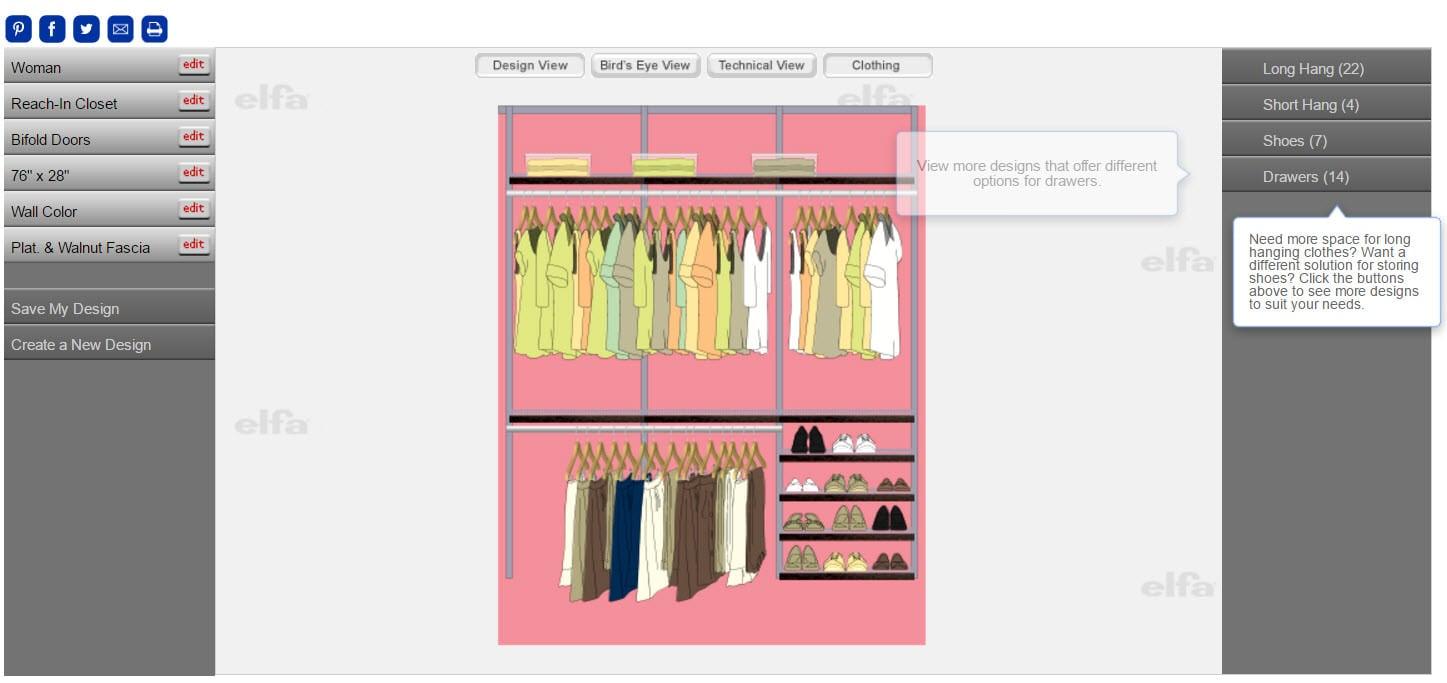 Example of closet design software