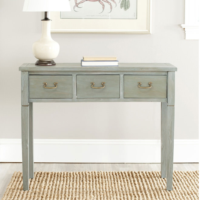 Solid wood foyer table photo